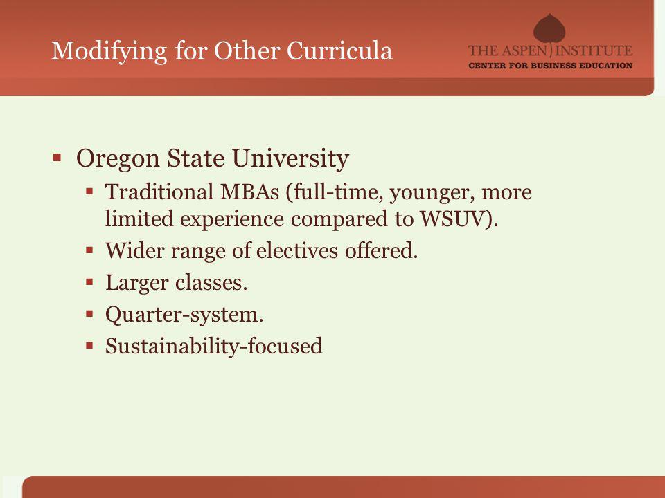 Modifying for Other Curricula Oregon State University Traditional MBAs (full-time, younger, more limited experience compared to WSUV).
