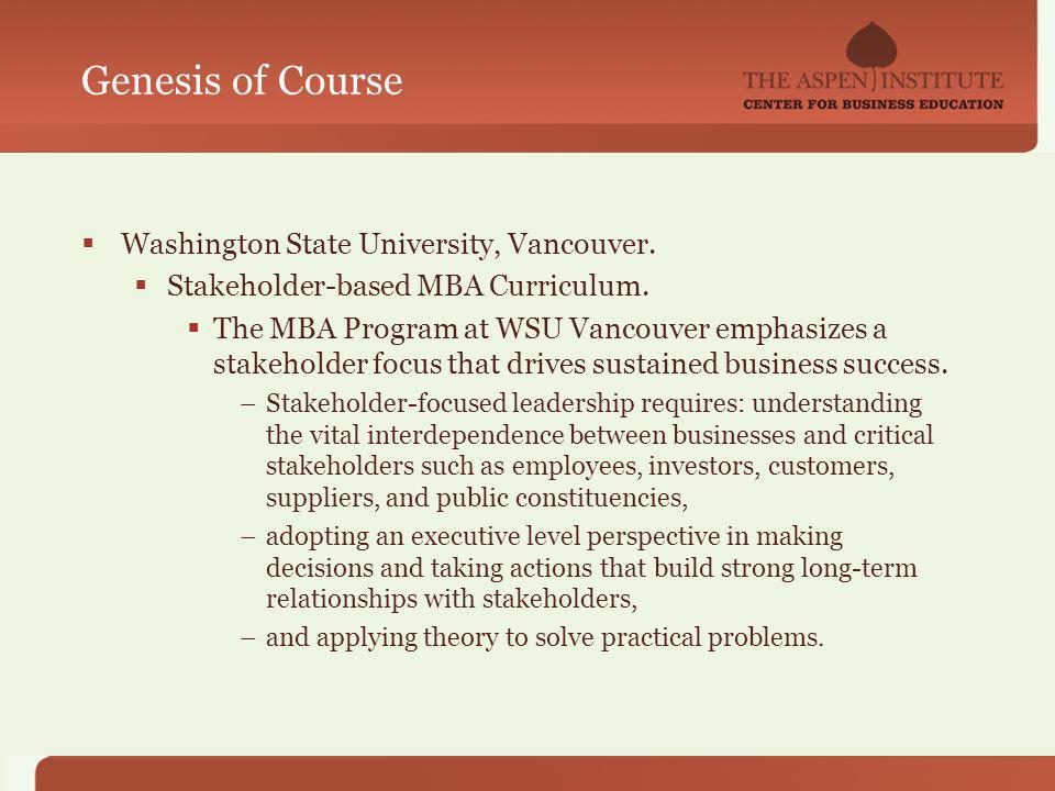 Genesis of Course Washington State University, Vancouver.