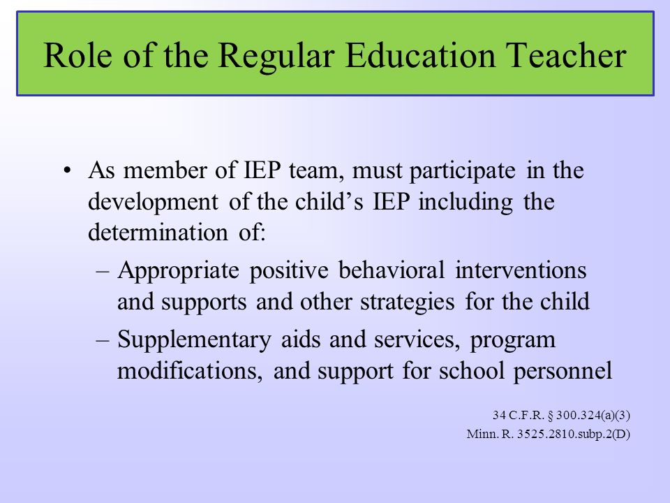 Role of General Education Teacher in IEP Process