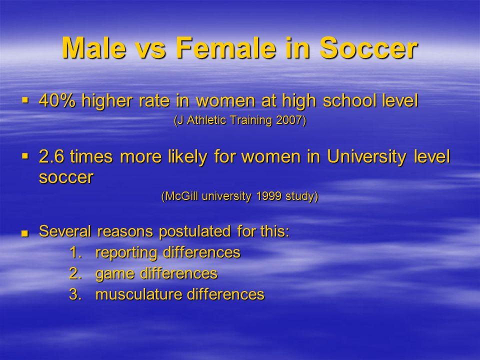 Male vs Female in Soccer 40% higher rate in women at high school level 40% higher rate in women at high school level (J Athletic Training 2007) 2.6 ti