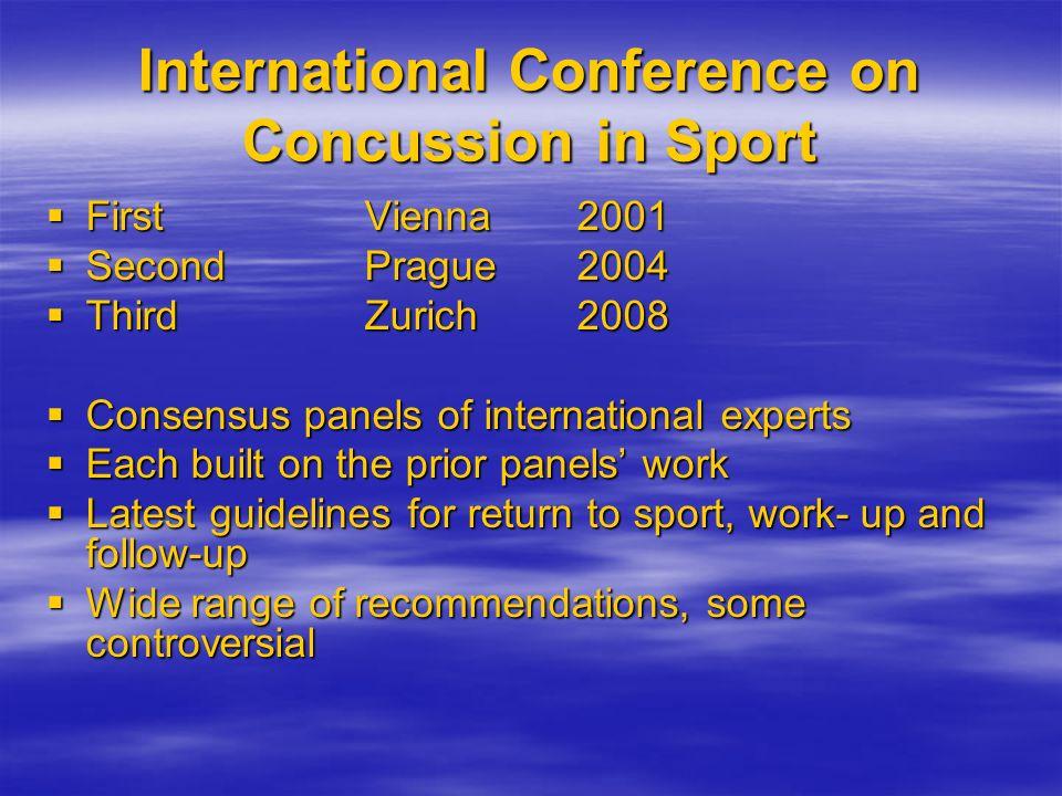 International Conference on Concussion in Sport FirstVienna 2001 FirstVienna 2001 SecondPrague2004 SecondPrague2004 ThirdZurich 2008 ThirdZurich 2008