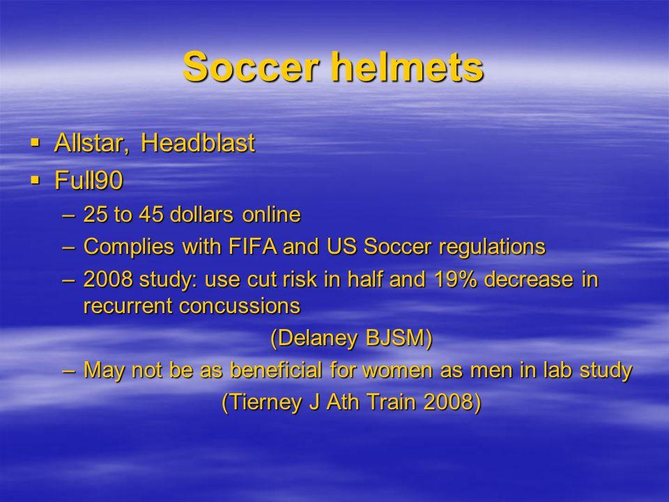 Soccer helmets Allstar, Headblast Allstar, Headblast Full90 Full90 –25 to 45 dollars online –Complies with FIFA and US Soccer regulations –2008 study: