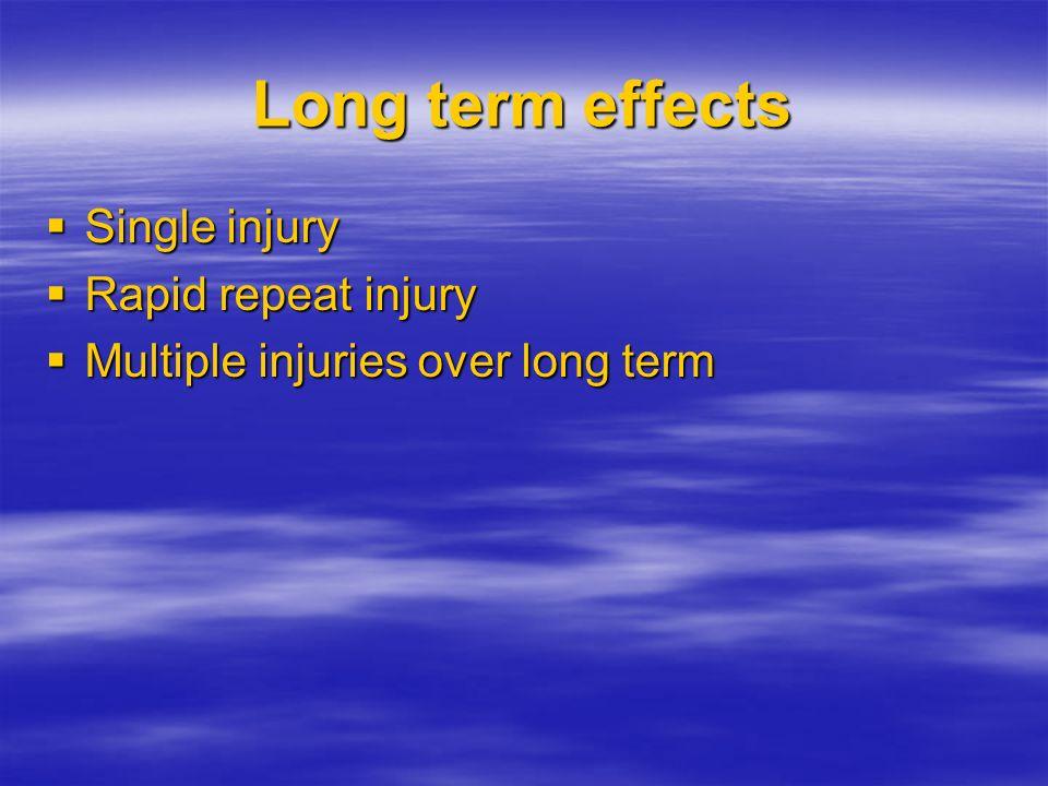 Long term effects Single injury Single injury Rapid repeat injury Rapid repeat injury Multiple injuries over long term Multiple injuries over long ter