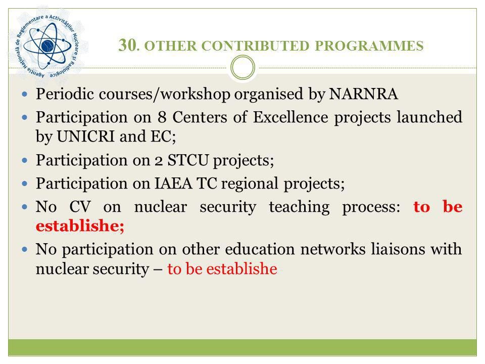 30. OTHER CONTRIBUTED PROGRAMMES Periodic courses/workshop organised by NARNRA Participation on 8 Centers of Excellence projects launched by UNICRI an