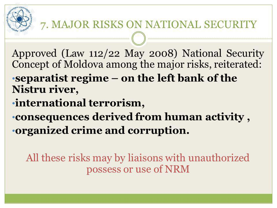 7. MAJOR RISKS ON NATIONAL SECURITY Approved (Law 112/22 May 2008) National Security Concept of Moldova among the major risks, reiterated: separatist