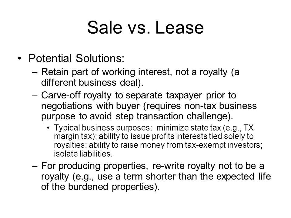 Sale vs.