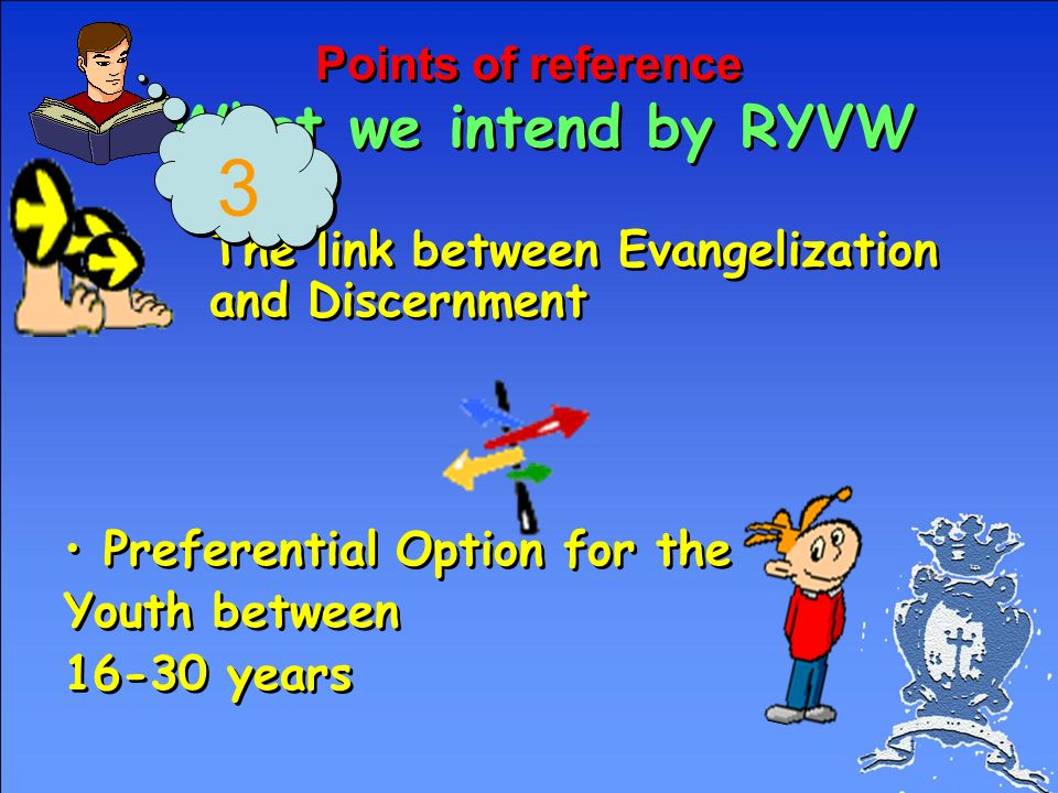 Points of reference What we intend as RYVW Every ministry is in itself vocational by nature (considering the common baptismal vocation) Discernment is