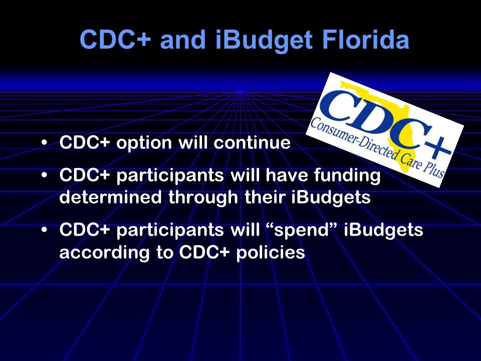 CDC+ and iBudget Florida CDC+ option will continue CDC+ participants will have funding determined through their iBudgets CDC+ participants will spend iBudgets according to CDC+ policies