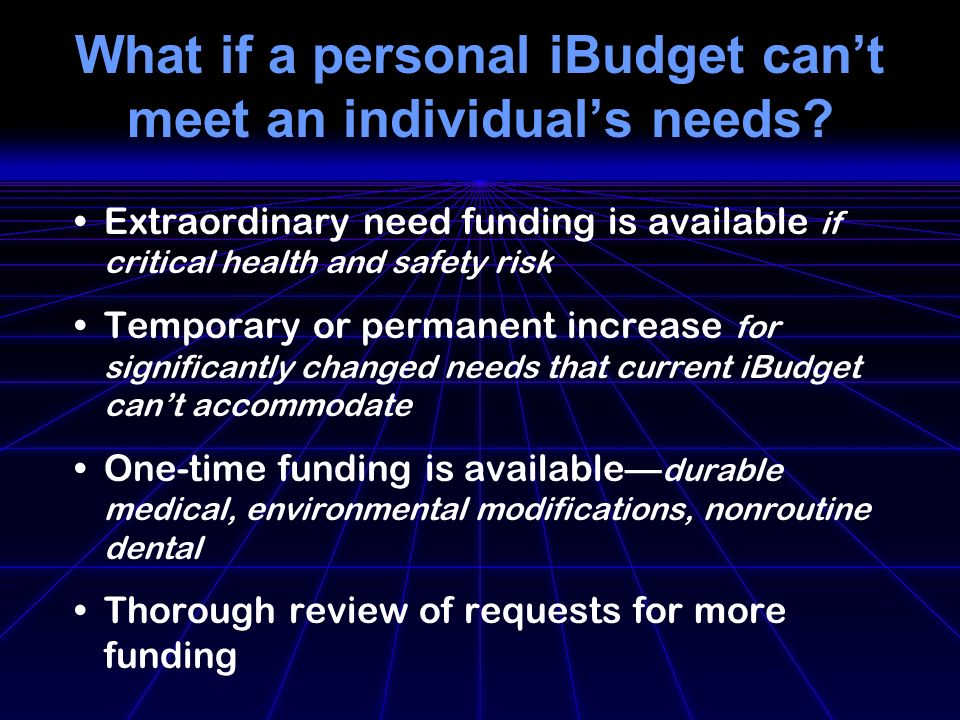What if a personal iBudget cant meet an individuals needs.