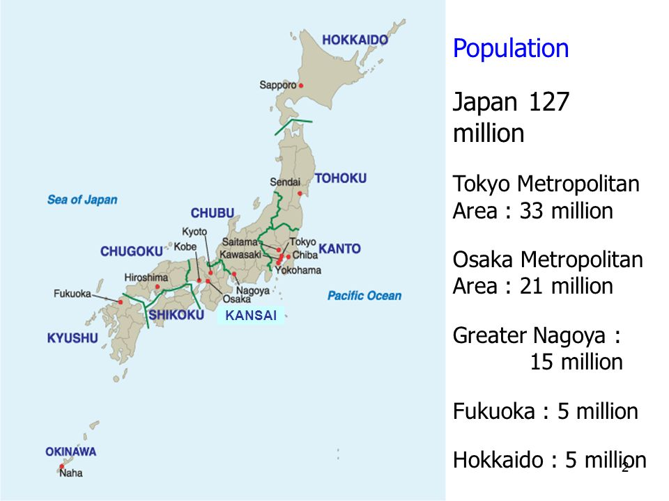 2 Population Japan 127 million Tokyo Metropolitan Area : 33 million Osaka Metropolitan Area : 21 million Greater Nagoya : 15 million Fukuoka : 5 million Hokkaido : 5 million KANSAI