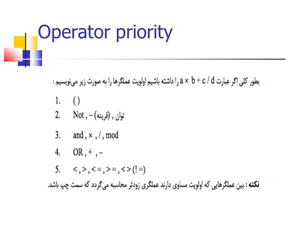 Operator priority