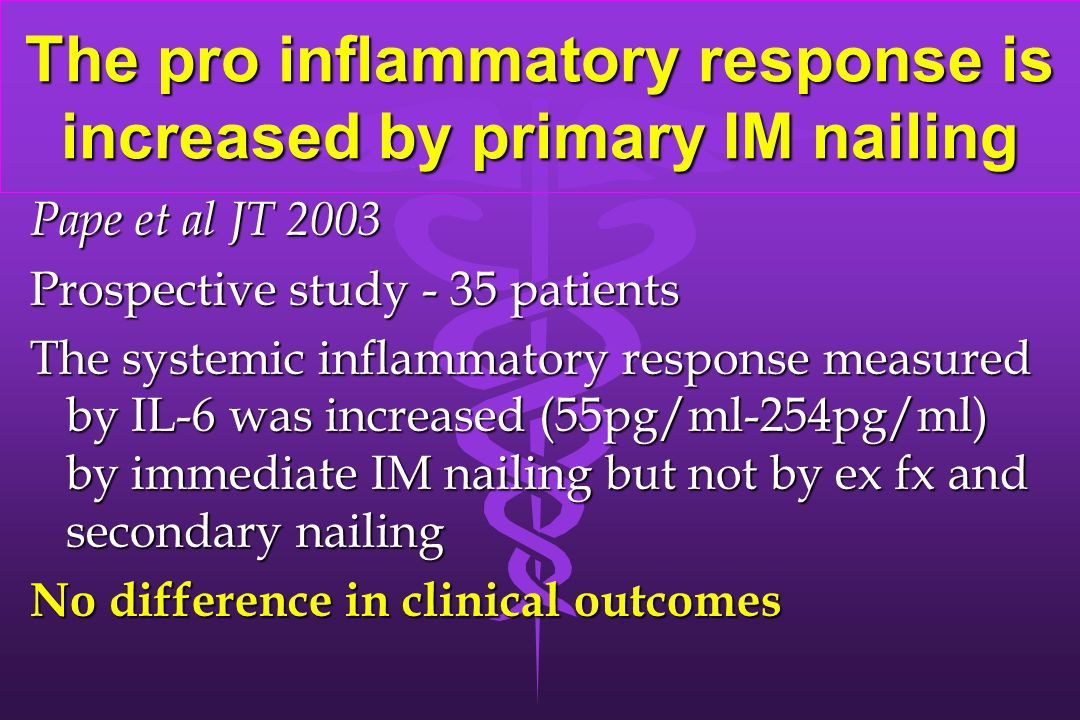The pro inflammatory response is increased by primary IM nailing Pape et al JT 2003 Prospective study - 35 patients The systemic inflammatory response