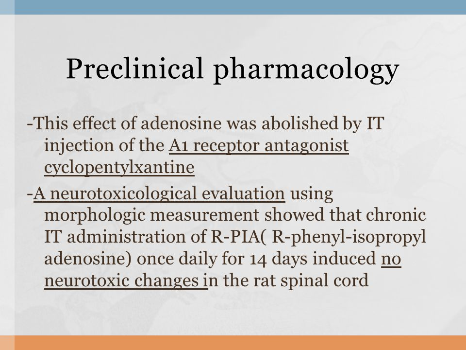 -This effect of adenosine was abolished by IT injection of the A1 receptor antagonist cyclopentylxantine -A neurotoxicological evaluation using morphologic measurement showed that chronic IT administration of R-PIA( R-phenyl-isopropyl adenosine) once daily for 14 days induced no neurotoxic changes in the rat spinal cord Preclinical pharmacology