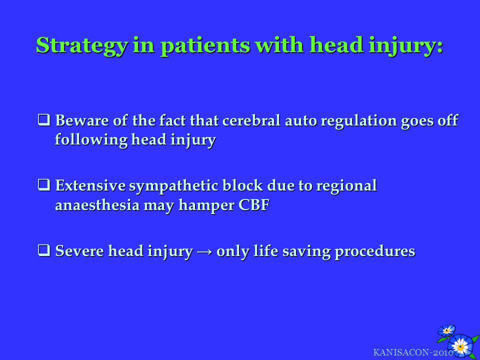 Strategy in patients with head injury: Beware of the fact that cerebral auto regulation goes off following head injury Beware of the fact that cerebra