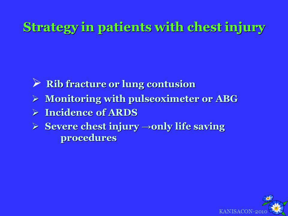 Strategy in patients with chest injury Rib fracture or lung contusion Monitoring with pulseoximeter or ABG Monitoring with pulseoximeter or ABG Incide
