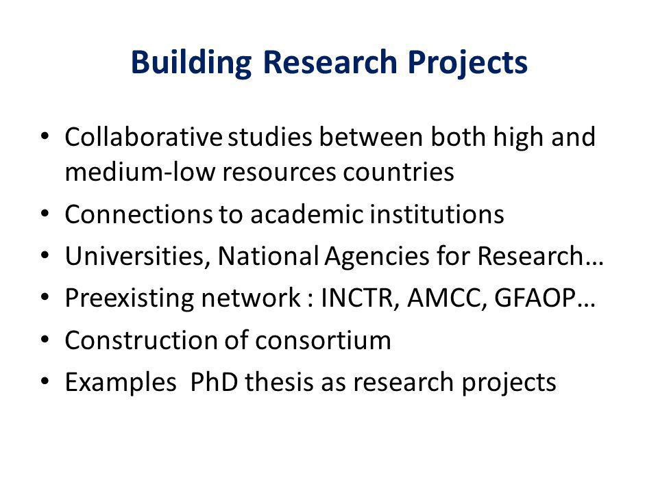 Building Research Projects Collaborative studies between both high and medium-low resources countries Connections to academic institutions Universities, National Agencies for Research… Preexisting network : INCTR, AMCC, GFAOP… Construction of consortium Examples PhD thesis as research projects