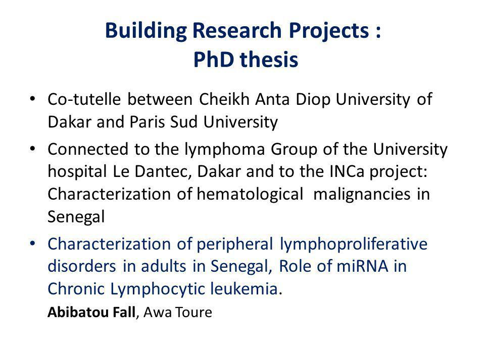Building Research Projects : PhD thesis Co-tutelle between Cheikh Anta Diop University of Dakar and Paris Sud University Connected to the lymphoma Group of the University hospital Le Dantec, Dakar and to the INCa project: Characterization of hematological malignancies in Senegal Characterization of peripheral lymphoproliferative disorders in adults in Senegal, Role of miRNA in Chronic Lymphocytic leukemia.