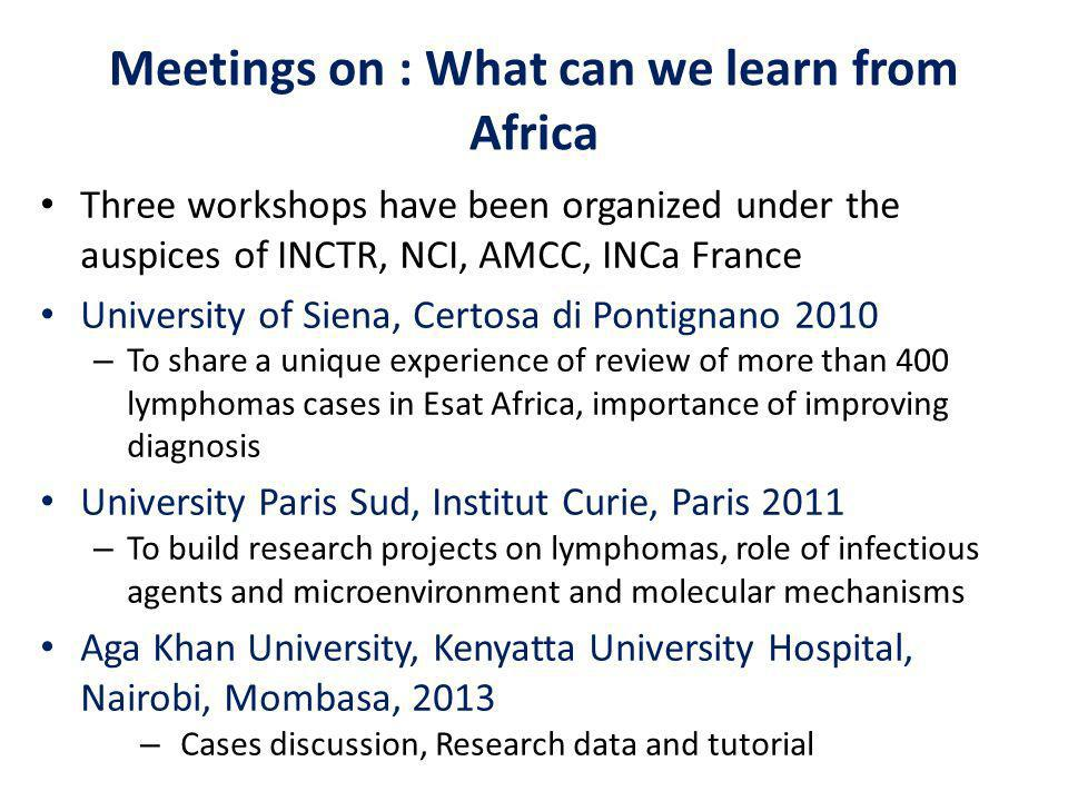 Meetings on : What can we learn from Africa Three workshops have been organized under the auspices of INCTR, NCI, AMCC, INCa France University of Siena, Certosa di Pontignano 2010 – To share a unique experience of review of more than 400 lymphomas cases in Esat Africa, importance of improving diagnosis University Paris Sud, Institut Curie, Paris 2011 – To build research projects on lymphomas, role of infectious agents and microenvironment and molecular mechanisms Aga Khan University, Kenyatta University Hospital, Nairobi, Mombasa, 2013 – Cases discussion, Research data and tutorial Workshop and tutorial