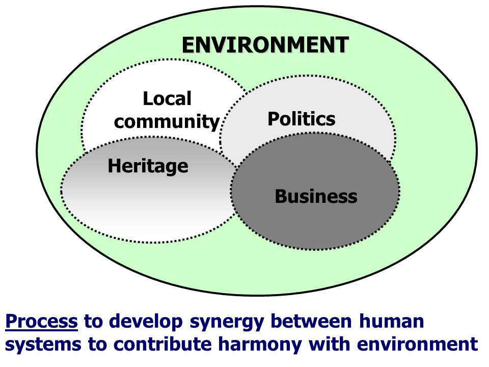 Local community Heritage Business Politics Process to develop synergy between human systems to contribute harmony with environment ENVIRONMENT