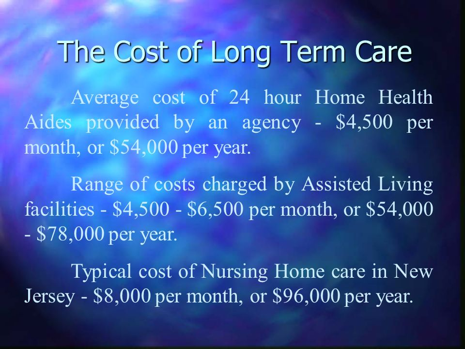 The Cost of Long Term Care Average cost of 24 hour Home Health Aides provided by an agency - $4,500 per month, or $54,000 per year. Range of costs cha
