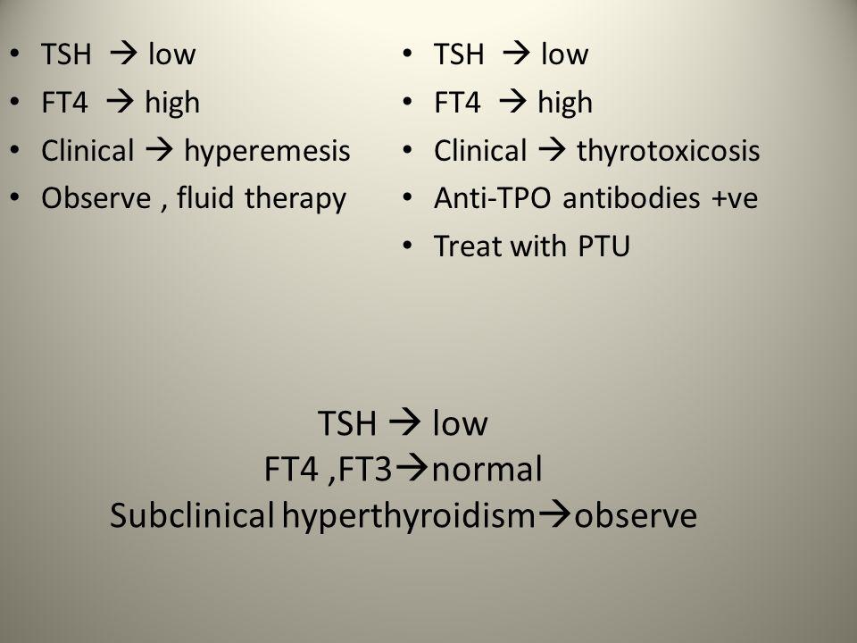 TSH Low High FT4 FT4 & FT3 Low 1° Hypothyroid Low Central Hypothyroid TRH Stim.