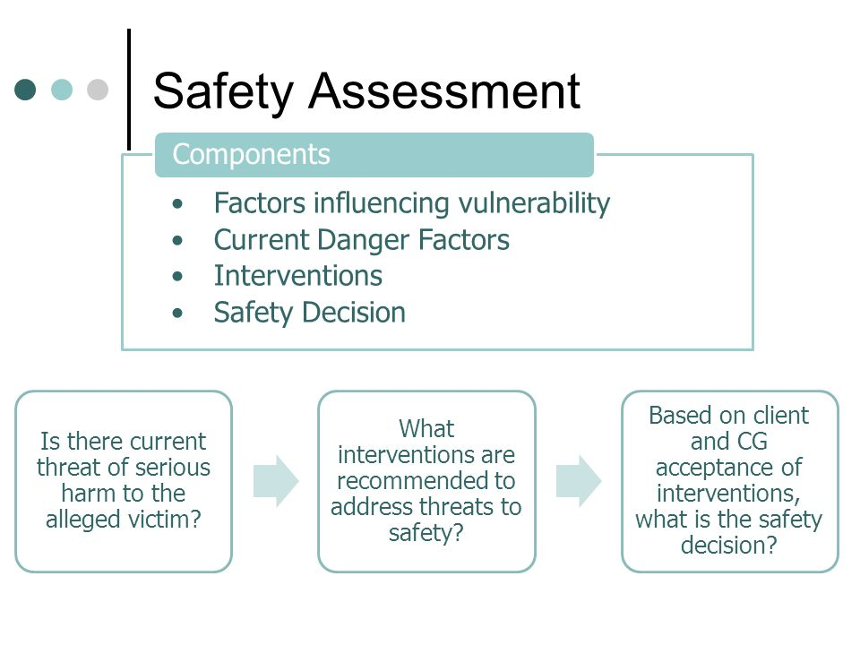 Safety Assessment Factors influencing vulnerability Current Danger Factors Interventions Safety Decision Components Is there current threat of serious harm to the alleged victim.