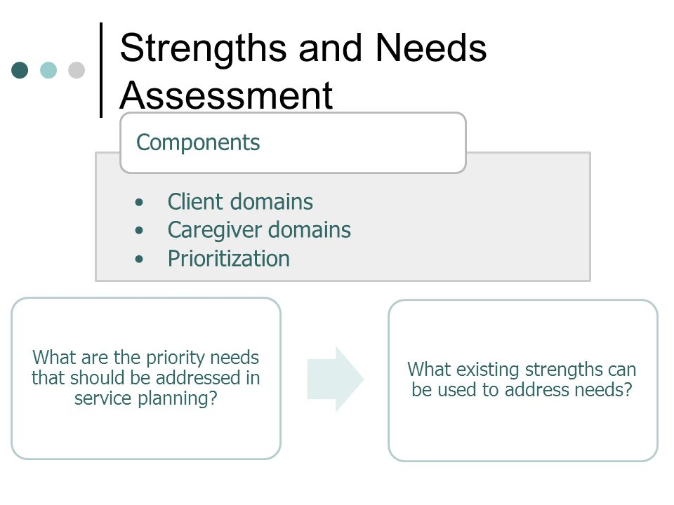 Strengths and Needs Assessment Client domains Caregiver domains Prioritization Components What are the priority needs that should be addressed in service planning.