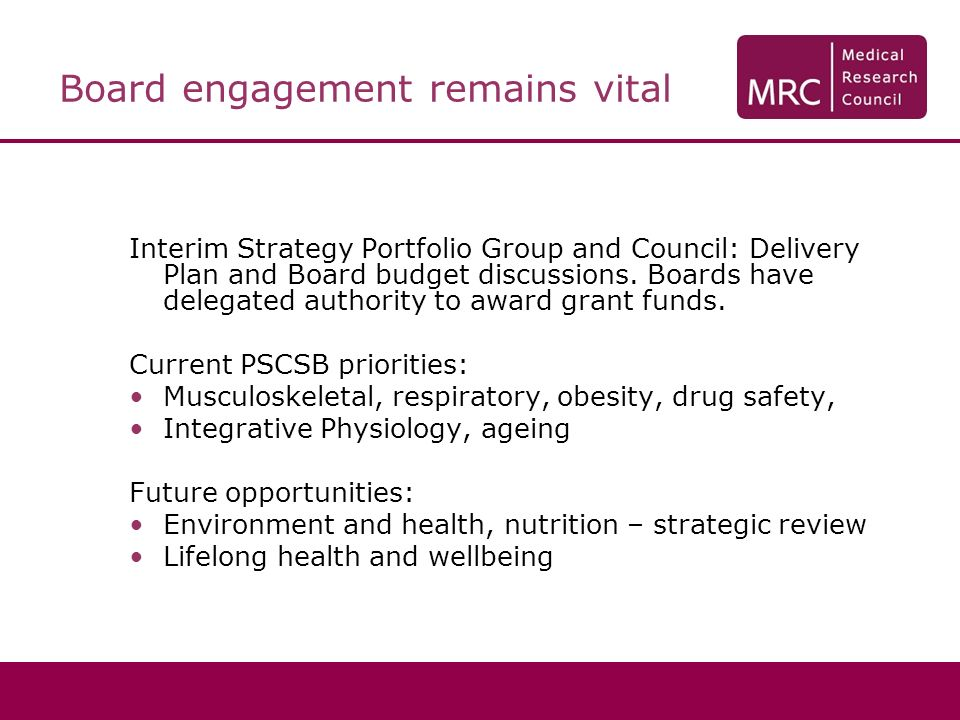 Board engagement remains vital Interim Strategy Portfolio Group and Council: Delivery Plan and Board budget discussions.
