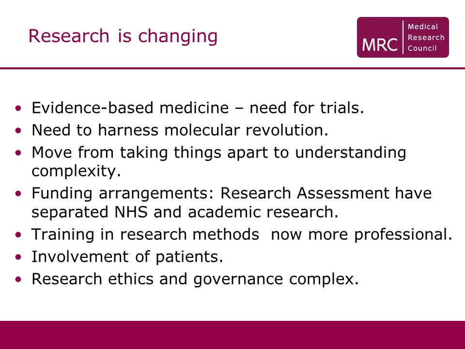 Research is changing Evidence-based medicine – need for trials.