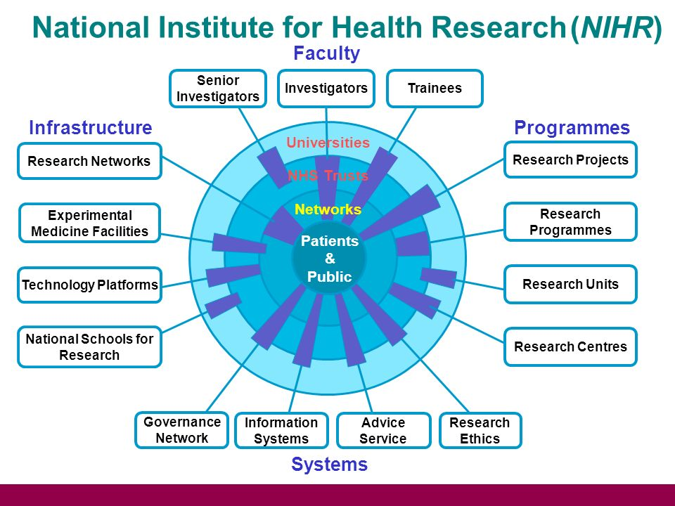 National Institute for Health Research (NIHR) NHS Trusts Networks Faculty TraineesInvestigators Senior Investigators Universities Infrastructure Experimental Medicine Facilities National Schools for Research Technology Platforms Research Networks Programmes Research Programmes Research Projects Research Units Research Centres Patients & Public Systems Advice Service Governance Network Research Ethics Information Systems