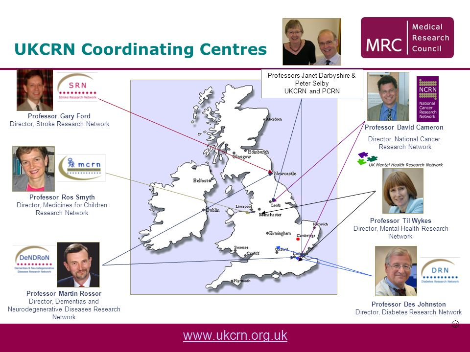 UKCRN Coordinating Centres Professor Gary Ford Director, Stroke Research Network Professor Des Johnston Director, Diabetes Research Network Professor David Cameron Director, National Cancer Research Network Professor Til Wykes Director, Mental Health Research Network Professor Ros Smyth Director, Medicines for Children Research Network Professor Martin Rossor Director, Dementias and Neurodegenerative Diseases Research Network Professors Janet Darbyshire & Peter Selby UKCRN and PCRN www.ukcrn.org.uk