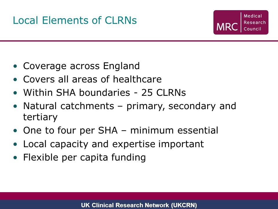 Local Elements of CLRNs Coverage across England Covers all areas of healthcare Within SHA boundaries - 25 CLRNs Natural catchments – primary, secondar