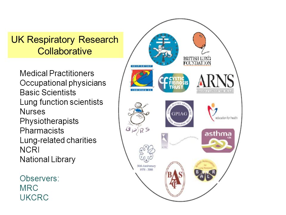 UK Respiratory Research Strategy Committee UK Respiratory Research Collaborative Medical Practitioners Occupational physicians Basic Scientists Lung function scientists Nurses Physiotherapists Pharmacists Lung-related charities NCRI National Library Observers: MRC UKCRC