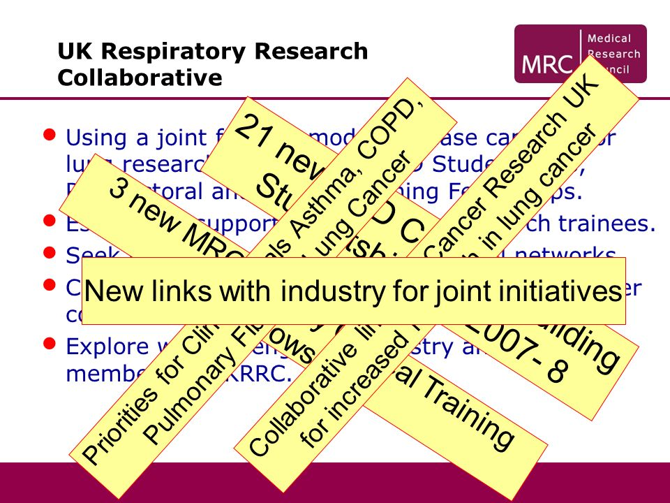 UK Respiratory Research Collaborative Using a joint funding model increase capacity for lung research in all areas – PhD Studentships, Postdoctoral and Clinical Training Fellowships.