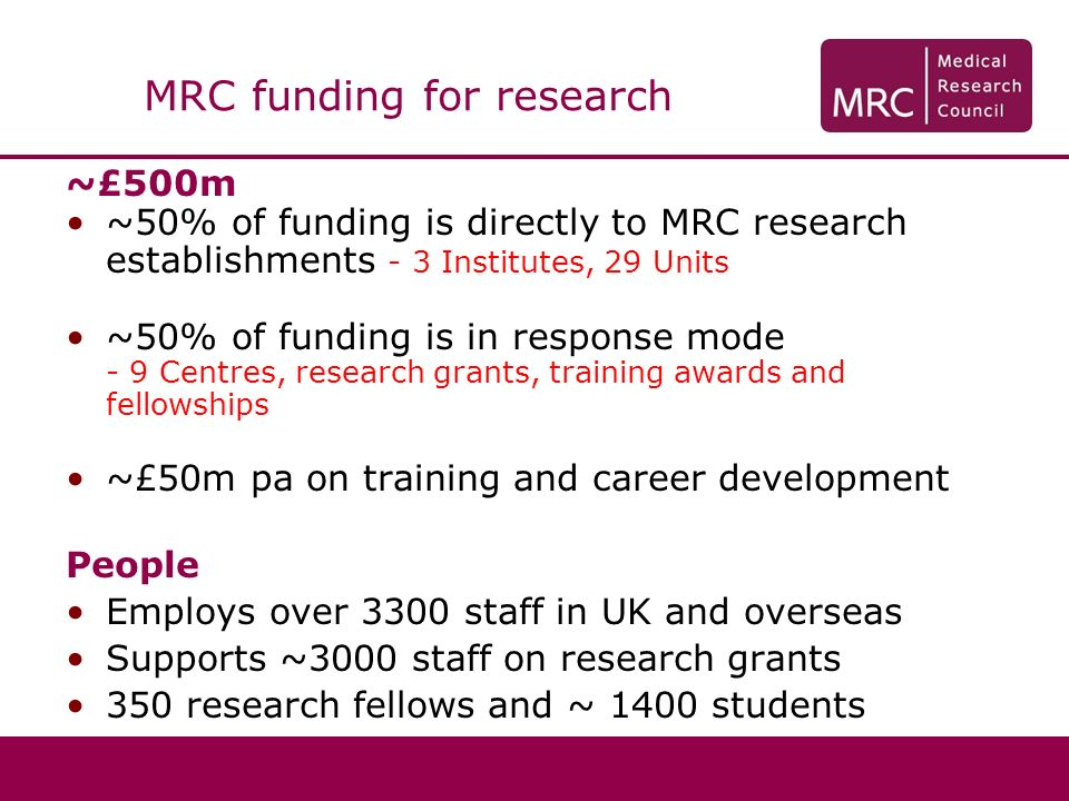 ~£500m ~50% of funding is directly to MRC research establishments - 3 Institutes, 29 Units ~50% of funding is in response mode - 9 Centres, research g