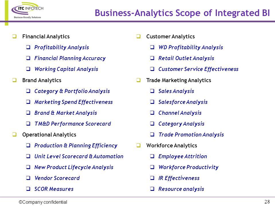 ©Company confidential 28 Financial Analytics Profitability Analysis Financial Planning Accuracy Working Capital Analysis Brand Analytics Category & Po