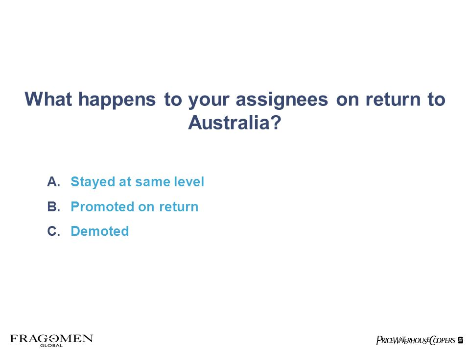 What happens to your assignees on return to Australia.