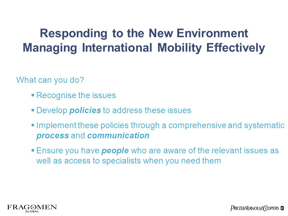Responding to the New Environment Managing International Mobility Effectively What can you do.