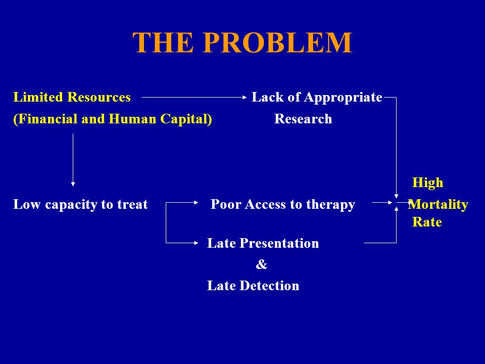 THE PROBLEM Limited Resources Lack of Appropriate (Financial and Human Capital) Research High Low capacity to treat Poor Access to therapy Mortality R