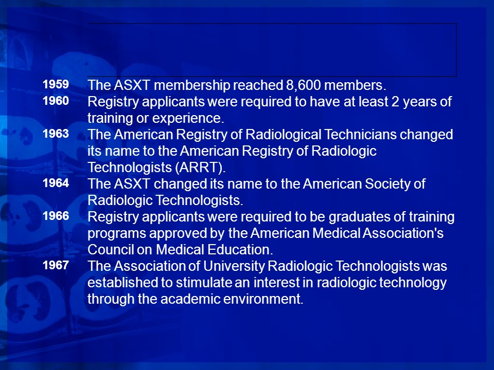 1959 The ASXT membership reached 8,600 members. 1960 Registry applicants were required to have at least 2 years of training or experience. 1963 The Am