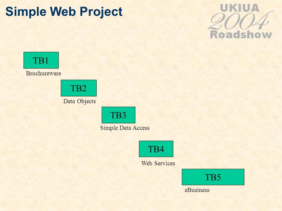 Simple Web Project TB1 TB4 TB3 TB5 Brochureware Web Services Simple Data Access eBusiness TB2 Data Objects