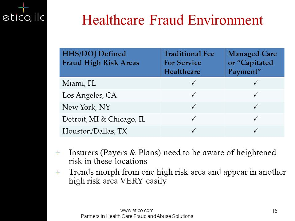Most Common Forms of Provider Fraud Billing for services not rendered Misrepresentation of services provided Provision of medically unnecessary services 14 www.etico.com Partners in Health Care Fraud and Abuse Solutions