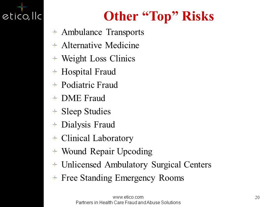 Notable Hot Spots Outpatient surgery center schemes (rent-a-patient) Cosmetic surgery schemes Imaging/other diagnostic testing Pain management & relat