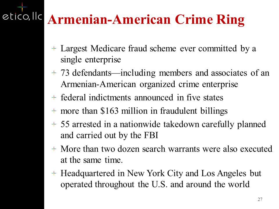 Fraud and Organized Crime Armenian-American Crime Ring Mirzoyan-Terdjanian Organization http://www.fbi.gov/news/stories/2010/october/medicare-fraud-organized-crime-bust/ 26