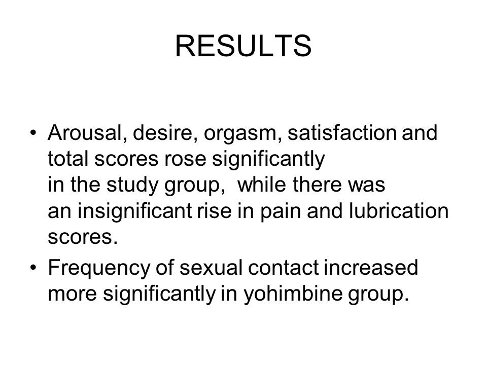 RESULTS Arousal, desire, orgasm, satisfaction and total scores rose significantly in the study group, while there was an insignificant rise in pain and lubrication scores.