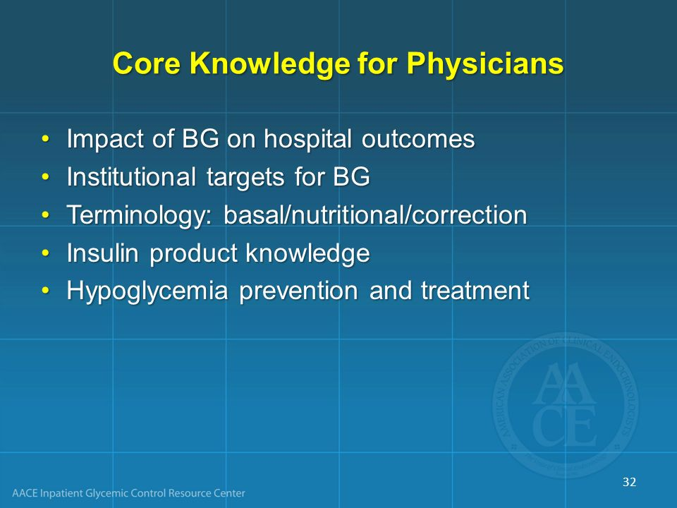 Core Knowledge for Physicians Impact of BG on hospital outcomesImpact of BG on hospital outcomes Institutional targets for BGInstitutional targets for