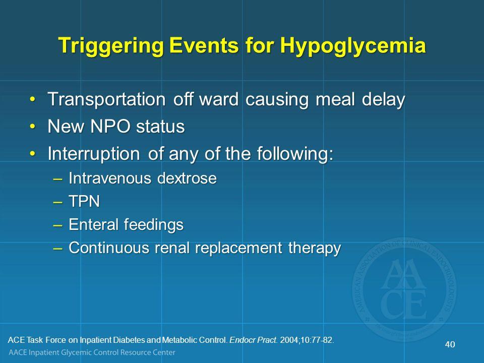 Triggering Events for Hypoglycemia Transportation off ward causing meal delayTransportation off ward causing meal delay New NPO statusNew NPO status I
