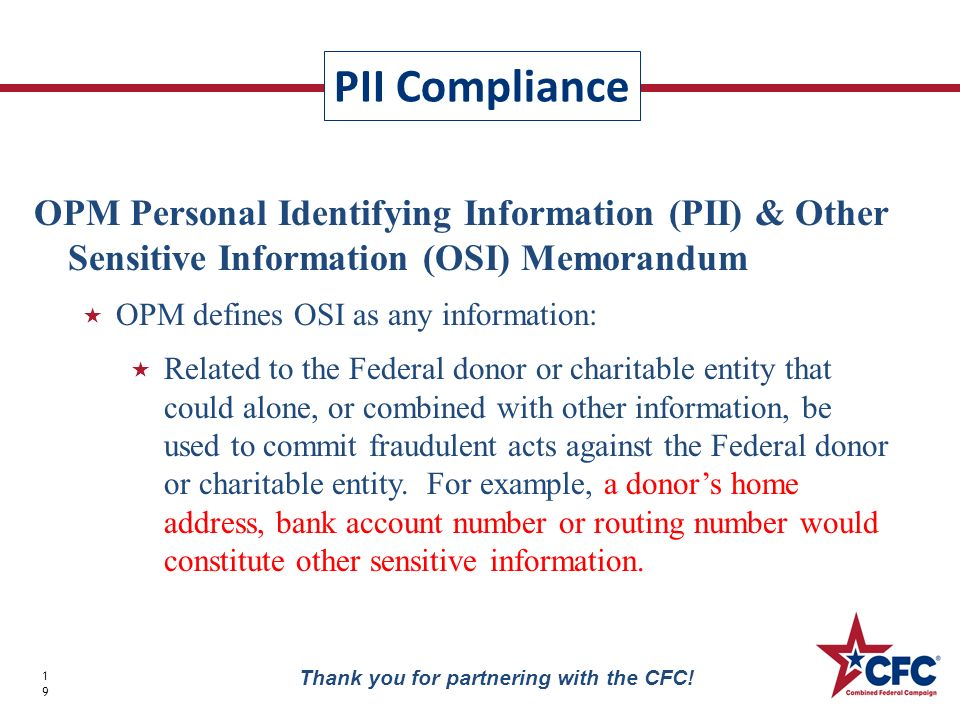 PII Compliance 19 Thank you for partnering with the CFC.