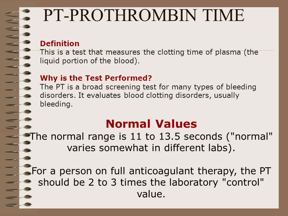 PT-PROTHROMBIN TIME Definition This is a test that measures the clotting time of plasma (the liquid portion of the blood). Why is the Test Performed?