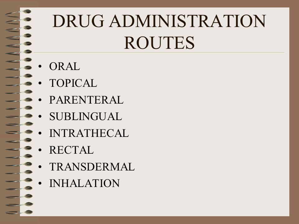DRUG ADMINISTRATION ROUTES ORAL TOPICAL PARENTERAL SUBLINGUAL INTRATHECAL RECTAL TRANSDERMAL INHALATION